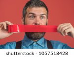bearded man with wrapping... | Shutterstock . vector #1057518428