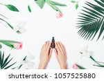 top view of woman holding... | Shutterstock . vector #1057525880