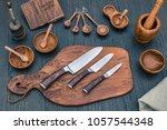 damascus kitchen steel knives ... | Shutterstock . vector #1057544348
