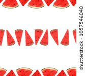watermelon watercolor pattern | Shutterstock . vector #1057546040