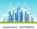 urban landscape with buildings  ... | Shutterstock .eps vector #1057548923