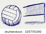 Sketch volleyball - stock vector