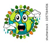 surprised earth emote. earth day | Shutterstock .eps vector #1057564436