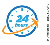 24 hours travel logo | Shutterstock .eps vector #1057567349