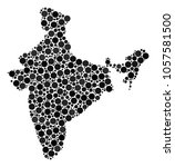 india map mosaic of round dots... | Shutterstock .eps vector #1057581500