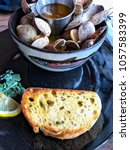 Closeup Of Steamed Clams With...