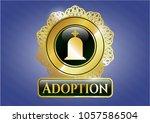 golden badge with tombstone... | Shutterstock .eps vector #1057586504