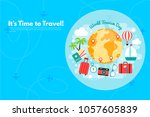 it s time to travel.trip to... | Shutterstock .eps vector #1057605839