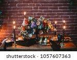 wedding. banquet. table  served ... | Shutterstock . vector #1057607363