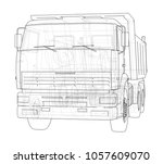 dump truck. 3d illustration.... | Shutterstock . vector #1057609070