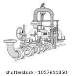 wire frame industrial pump. 3d... | Shutterstock . vector #1057611350