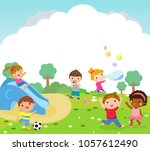 children playing in the park   Shutterstock .eps vector #1057612490
