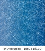 wire frame city  blueprint... | Shutterstock . vector #1057615130