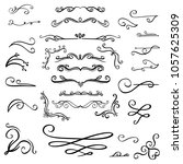 collection of handdrawn floral... | Shutterstock .eps vector #1057625309