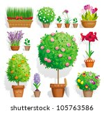 Set Of Pot Plants With Flowers...