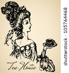 vintage lady for cafe or... | Shutterstock .eps vector #105764468