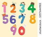cute animal number vector | Shutterstock .eps vector #1057644983