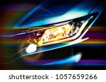 car headlights with grain flare ... | Shutterstock . vector #1057659266