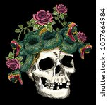skull and snake in the roses...