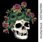skull and snake in the roses...   Shutterstock .eps vector #1057664984