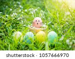 happy easter day funny easter... | Shutterstock . vector #1057666970