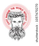 the face of a bearded man with... | Shutterstock .eps vector #1057670270