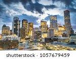 Small photo of Skyline of Downtown Houston at Dusk - Houston, Texas, USA