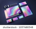 holographic metallic mock up... | Shutterstock . vector #1057680548