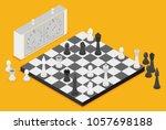 flat chess isometric. game...   Shutterstock .eps vector #1057698188