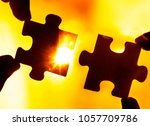 two hands trying to connect... | Shutterstock . vector #1057709786