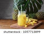 mason jar with tasty fresh... | Shutterstock . vector #1057713899