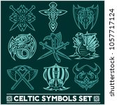 set of celtic symbols icons... | Shutterstock .eps vector #1057717124