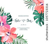 floral set with hibiscus.... | Shutterstock .eps vector #1057723316
