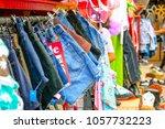 vintage denim shorts on display ...   Shutterstock . vector #1057732223