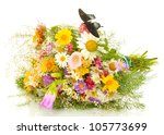 black butterfly on wildflowers... | Shutterstock . vector #105773699