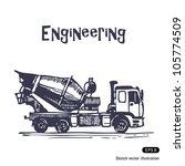 concrete mixer truck. hand... | Shutterstock .eps vector #105774509