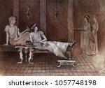 rich roman men drink wine on... | Shutterstock . vector #1057748198