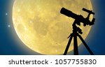 Silhouette A Telescope Full Moon - Fine Art prints