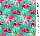 Colourful pattern with vintage roses and peons. Modern pattern with flowers. Romantic light pattern with pink flowers.  Cute spring background in watercolour style with roses and peons.