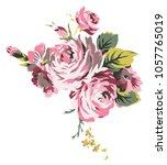 shabby chic vintage roses ... | Shutterstock .eps vector #1057765019