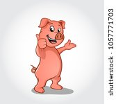 pig cartoon character smiling... | Shutterstock .eps vector #1057771703