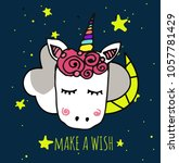 unicorn cute illustration with...   Shutterstock .eps vector #1057781429