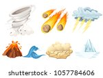 natural cataclysm icons set.... | Shutterstock .eps vector #1057784606