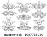 mask for coloring book. set of... | Shutterstock .eps vector #1057785260