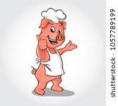 pig chef cartoon character...   Shutterstock .eps vector #1057789199