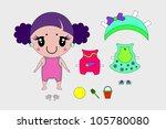 kawaii paper doll | Shutterstock .eps vector #105780080
