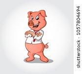 pig cartoon character folding... | Shutterstock .eps vector #1057804694