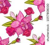 vector seamless flower pattern... | Shutterstock .eps vector #1057808030