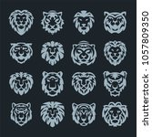 tiger and lions face logo badge ...   Shutterstock .eps vector #1057809350