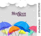 monsoon season with colorful... | Shutterstock .eps vector #1057810550